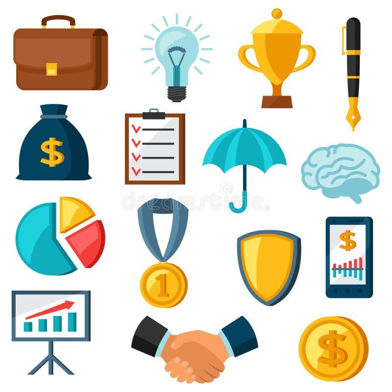 Sistema de iconos planos del negocio y de las finanzas ilustración del vector