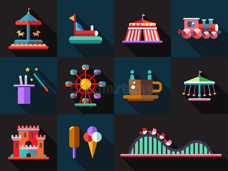 Sistema de iconos planos del parque de atracciones del diseño ilustración del vector