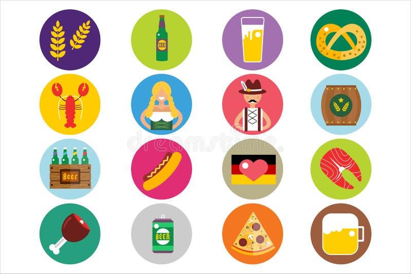 Sistema de iconos planos del vector de Oktoberfest Cerveza de la botella ilustración del vector