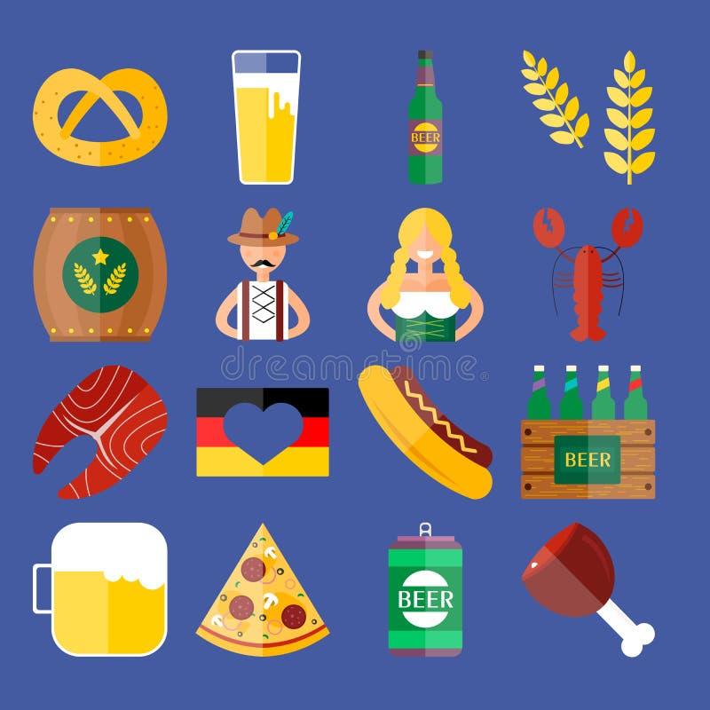 Sistema de iconos planos del vector de Oktoberfest Cerveza, comida y bebidas de la botella stock de ilustración