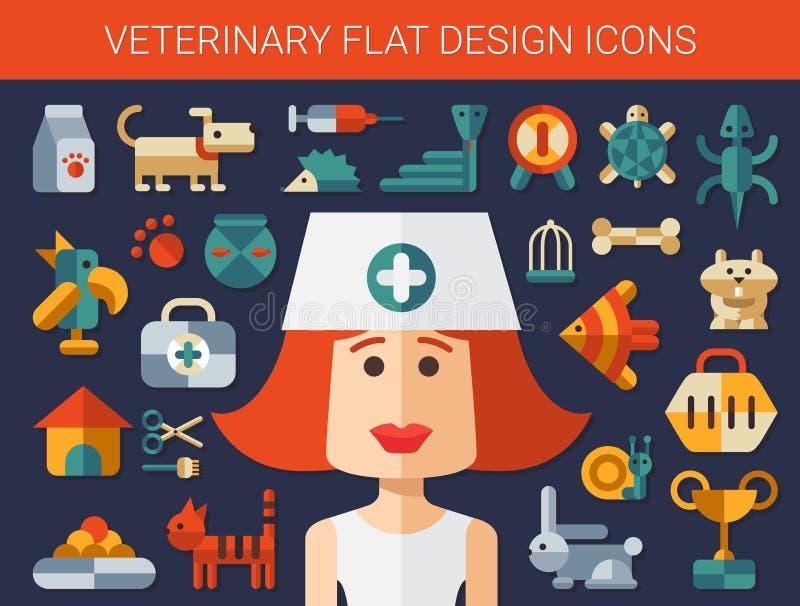 Sistema de iconos planos del veterinario y del animal doméstico del diseño stock de ilustración