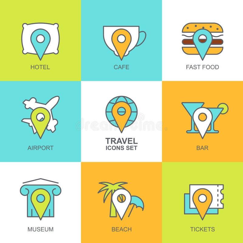 Sistema de iconos planos del viaje del vector Trace los símbolos, punto de referencia, hotel, t libre illustration