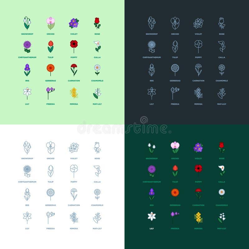 Sistema de iconos planos de la flor del icono imagenes de archivo