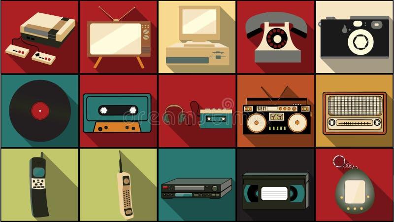 Sistema de iconos planos simples del estilo con la sombra larga de la vieja electrónica retra del inconformista del vintage, telé libre illustration