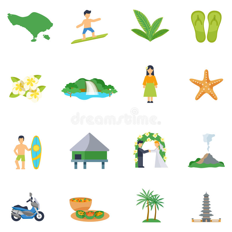 Sistema de iconos planos sobre Bali stock de ilustración