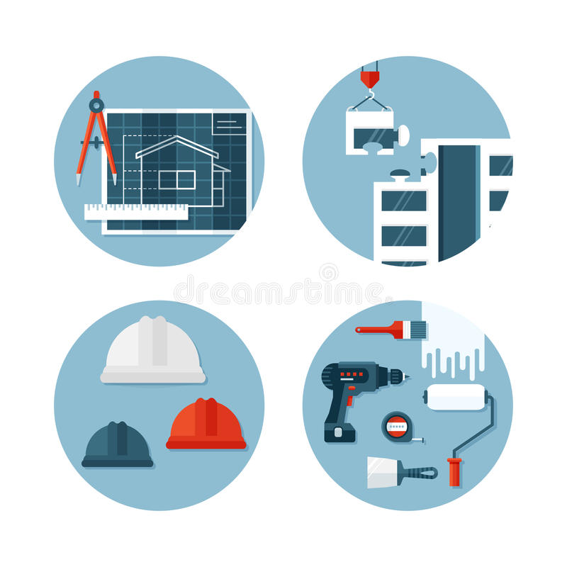 Sistema de iconos planos sobre la construcción y la ingeniería stock de ilustración