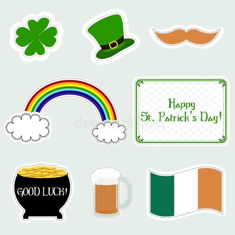 Sistema de iconos planos de St Patrick del día feliz del ` s Ilustración del vector Símbolos del día del ` s de Patrick ilustración del vector