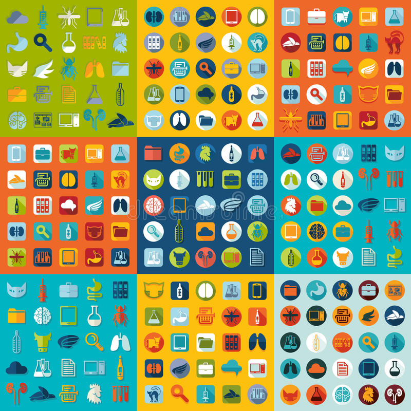Sistema de iconos planos veterinarios stock de ilustración
