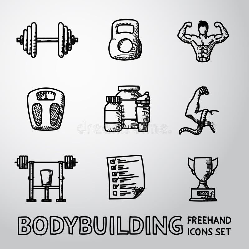 Sistema de iconos a pulso del levantamiento de pesas con - pesa de gimnasia ilustración del vector