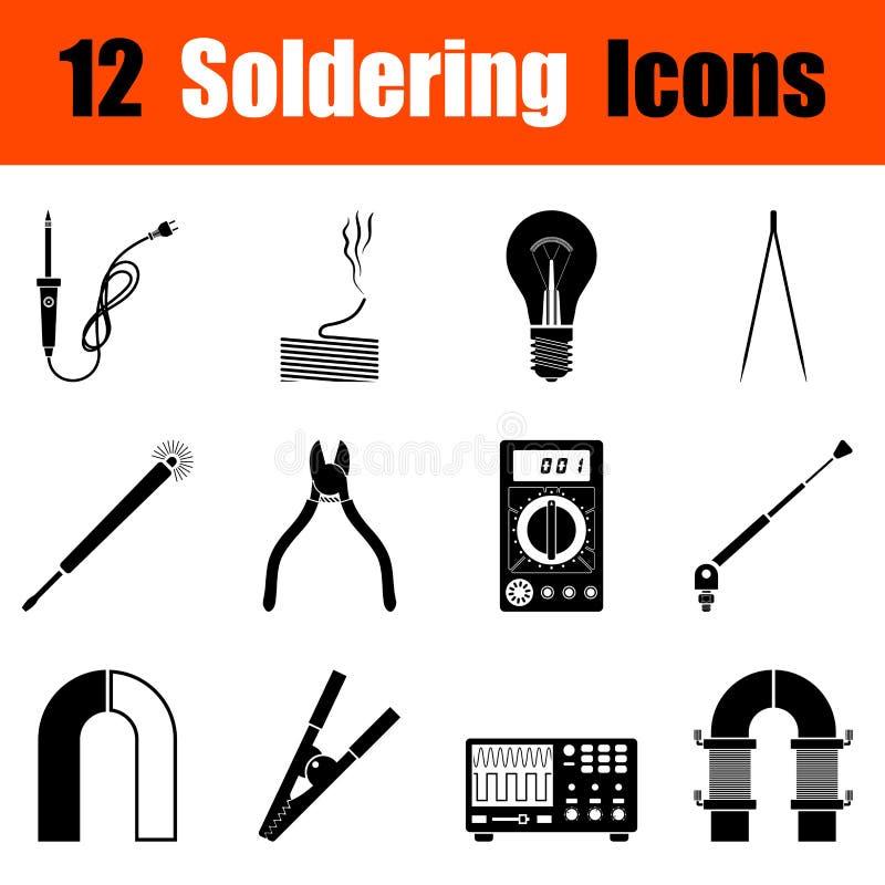Sistema de iconos que sueldan stock de ilustración