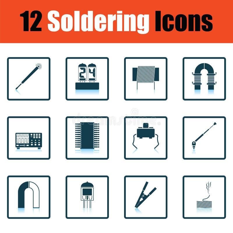 Sistema de iconos que sueldan ilustración del vector