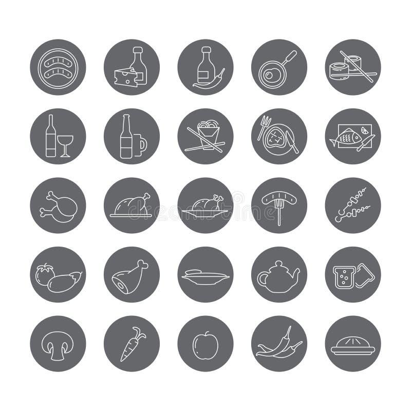 Sistema de iconos redondos con la comida y las bebidas ilustración del vector