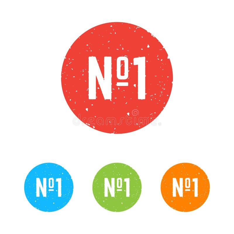 Sistema de iconos redondos del número uno ilustración del vector