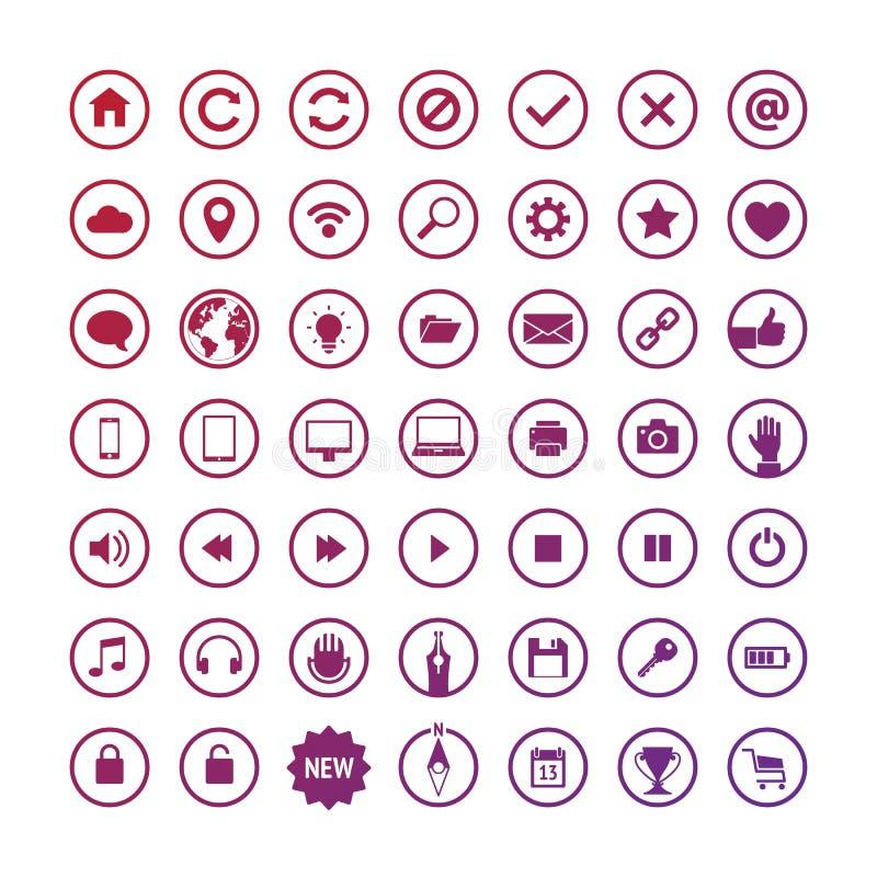Sistema de iconos redondos del web ilustración del vector