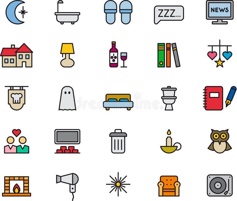 Sistema de iconos relacionados de la noche stock de ilustración