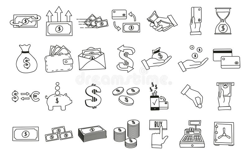 Sistema de iconos relacionados dibujados mano del dinero Vector los ejemplos del garabato con el dinero, finanzas y los temas rel stock de ilustración