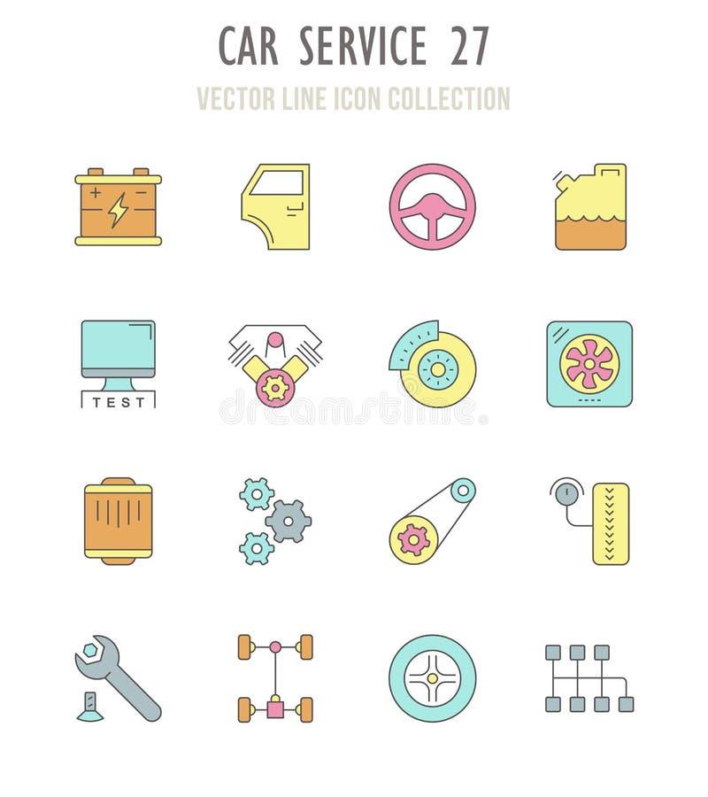 Sistema de iconos retros del servicio del coche stock de ilustración