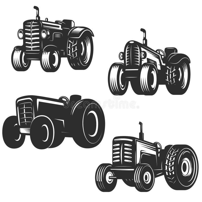 Sistema de iconos retros del tractor Diseñe los elementos para el logotipo, etiqueta, emblema, stock de ilustración