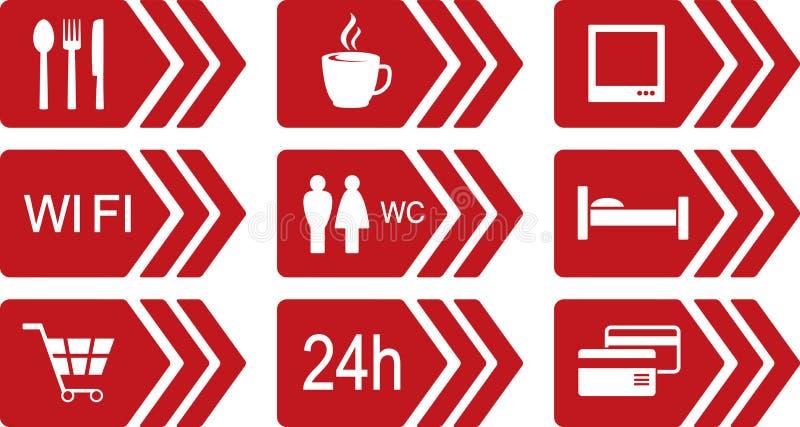 Sistema de iconos rojos del camino con la flecha stock de ilustración