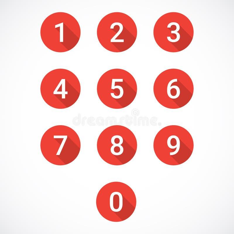 Sistema de iconos rojos del número stock de ilustración