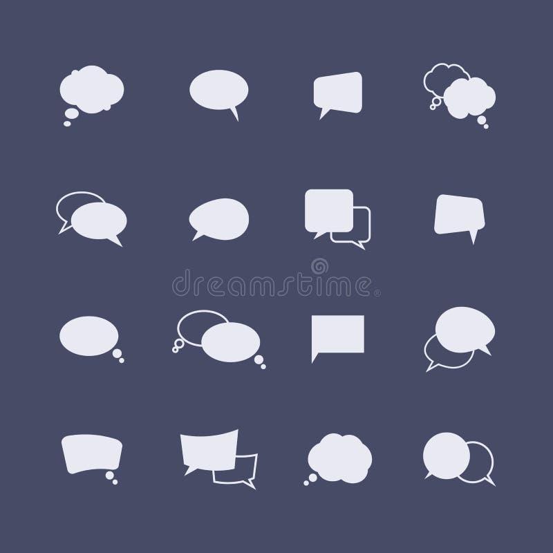 Sistema de iconos simples de la burbuja del discurso en la oscuridad ilustración del vector