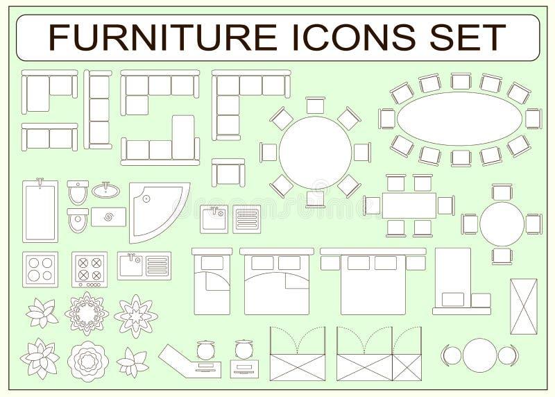 Sistema De Iconos Simples Del Vector De Los Muebles Como Elementos ...