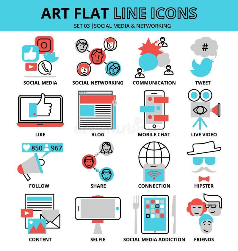 Sistema de iconos sociales de los medios y del establecimiento de una red ilustración del vector