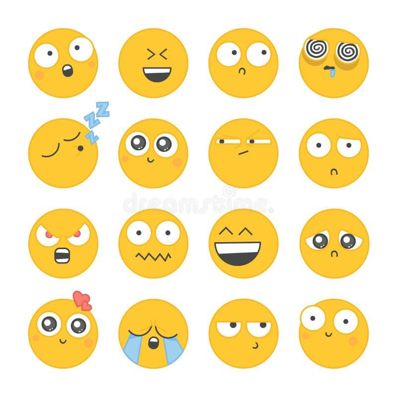 Sistema de iconos sonrientes con diversa cara stock de ilustración
