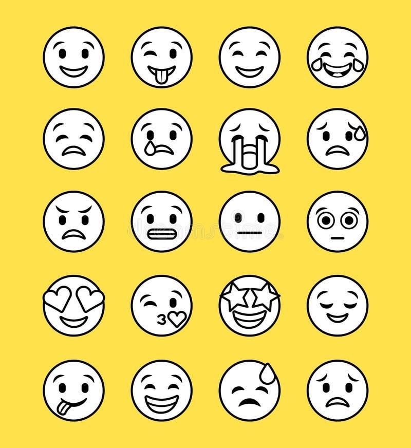 Sistema de iconos sonrientes con diversa expresión de la cara libre illustration