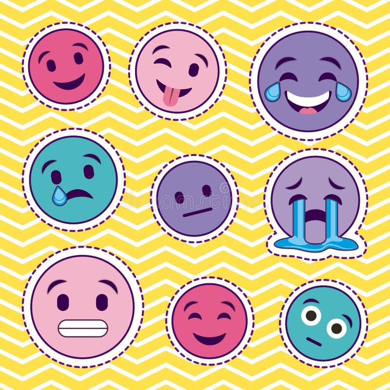 Sistema de iconos sonrientes con diversa expresión de la cara ilustración del vector