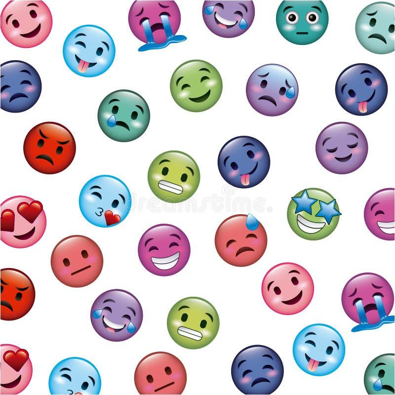 Sistema de iconos sonrientes con diversa expresión de la cara stock de ilustración