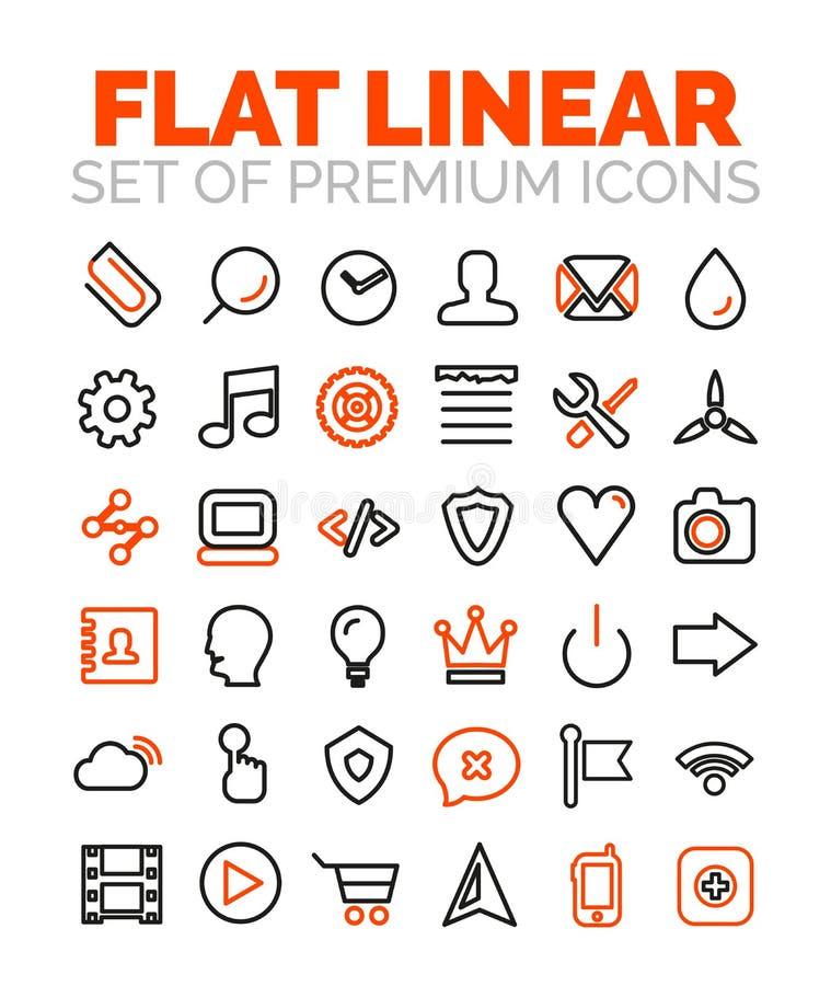 Sistema de iconos superiores completamente lineares del vector stock de ilustración