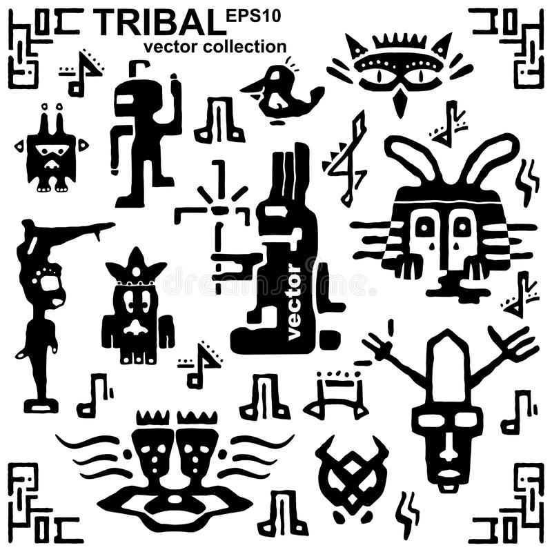 Sistema de iconos tribales y de notas musicales La mano blanco y negro de la silueta dibuja animales y a criaturas fantásticas ilustración del vector