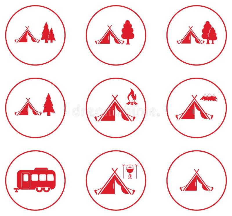 Sistema de iconos tylized de la tienda turística stock de ilustración