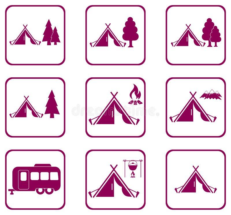Sistema de iconos tylized de la tienda turística libre illustration