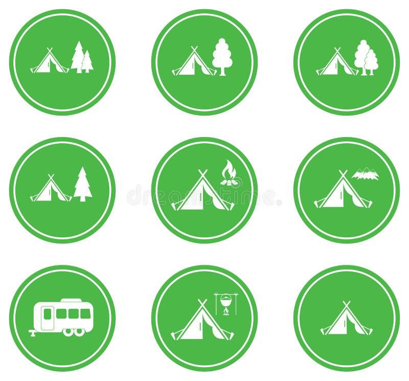 Sistema de iconos tylized de la tienda turística ilustración del vector