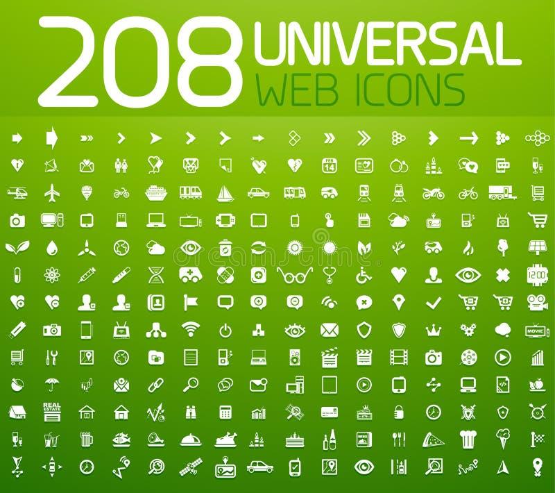 Sistema de 208 iconos del universal del vector stock de ilustración