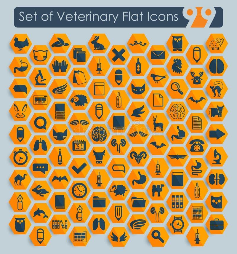 Sistema de iconos veterinarios stock de ilustración
