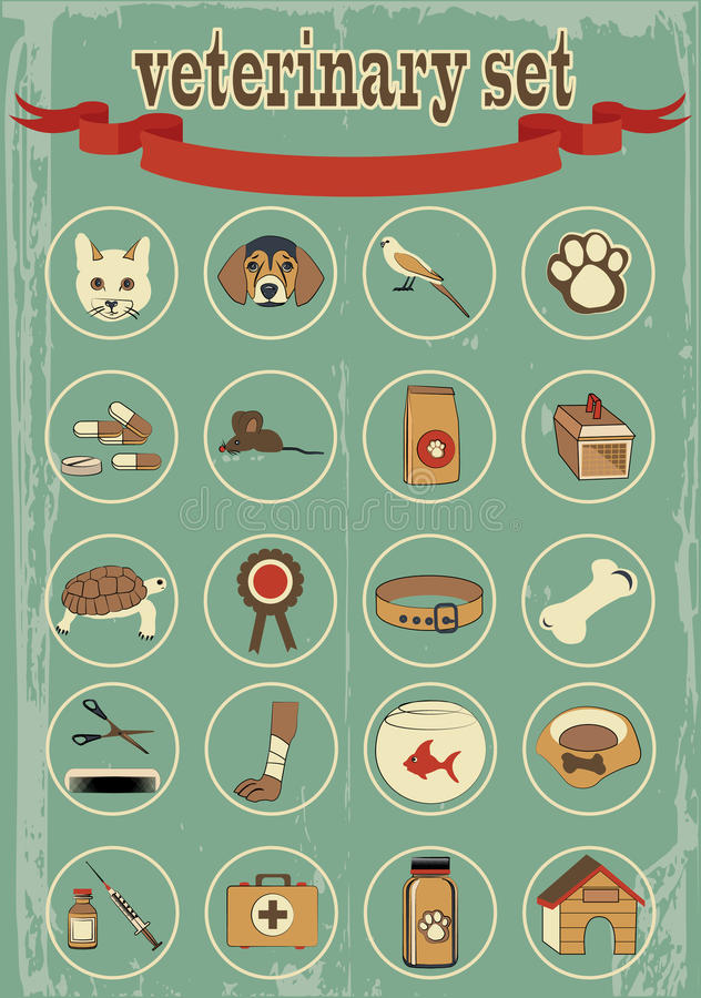 Sistema de iconos veterinarios del vector libre illustration
