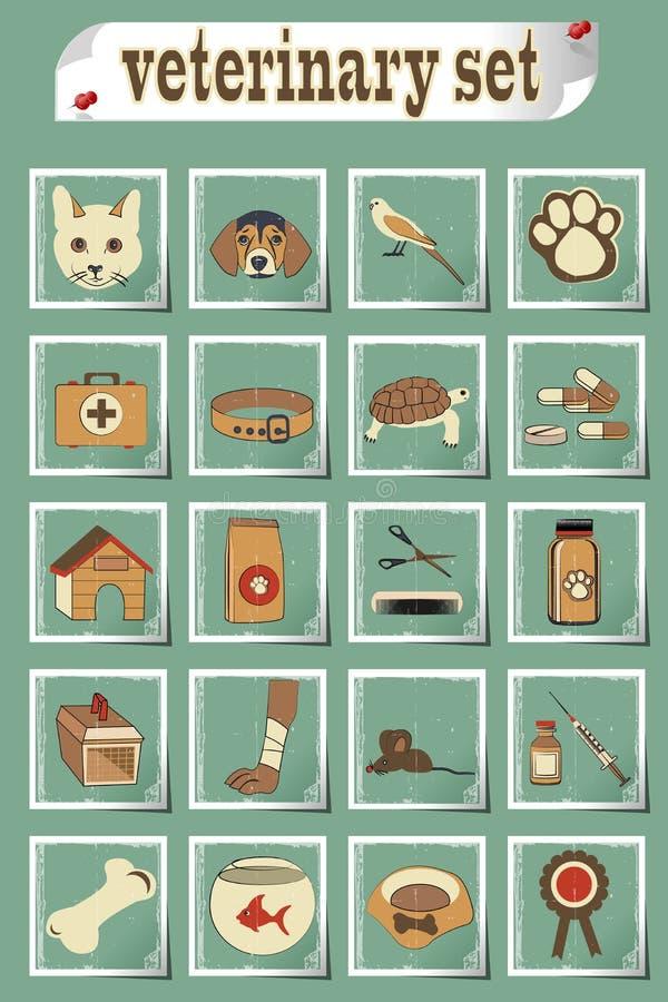 Sistema de iconos veterinarios del vector libre illustration