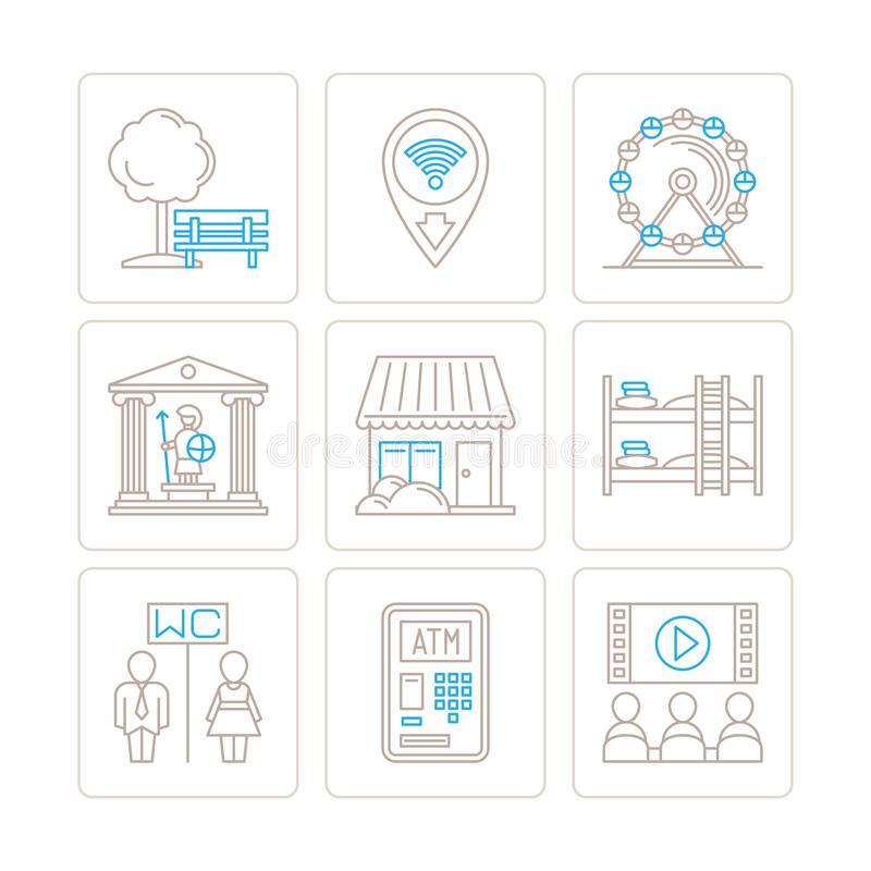Sistema de iconos y de conceptos comunes del mapa del vector en la mono línea estilo fina stock de ilustración