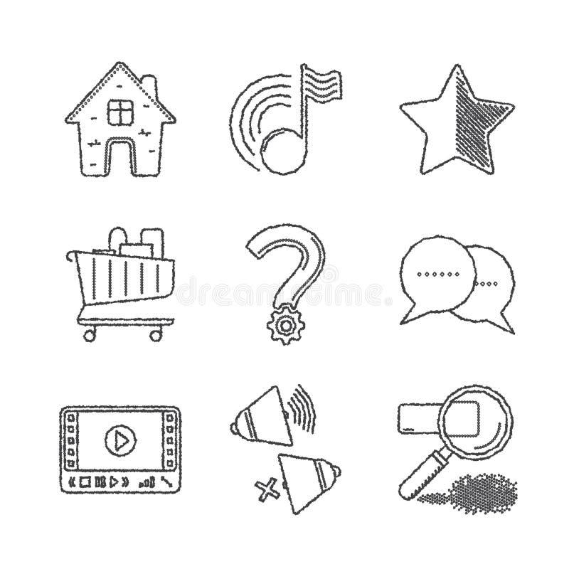Sistema de iconos y de conceptos comunes del sitio web del vector en estilo del bosquejo ilustración del vector