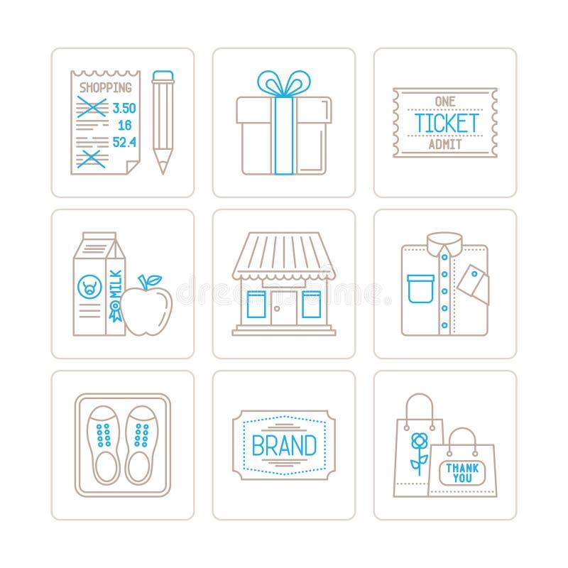 Sistema de iconos y de conceptos de las compras del vector en la mono línea estilo fina ilustración del vector