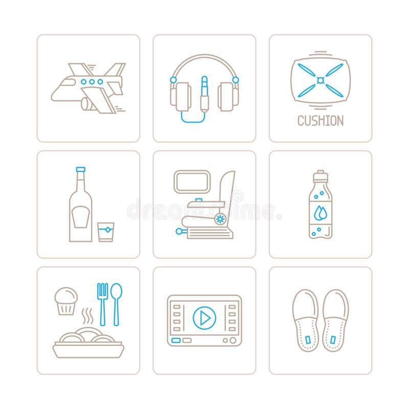 Sistema de iconos y de conceptos del viaje del vector en la mono línea estilo fina libre illustration
