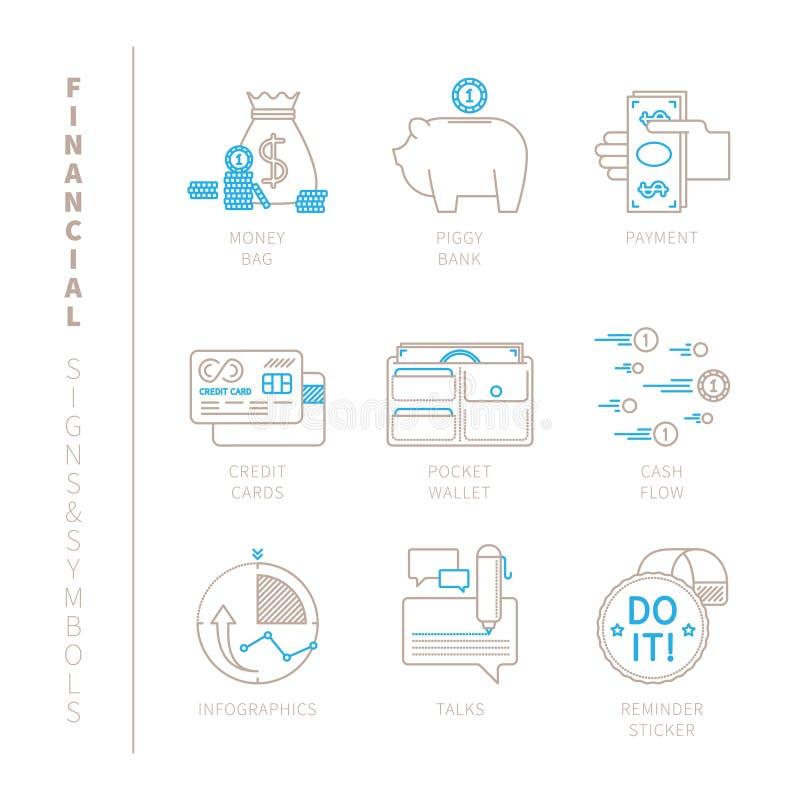 Sistema de iconos y de conceptos financieros del vector en la mono línea estilo fina ilustración del vector