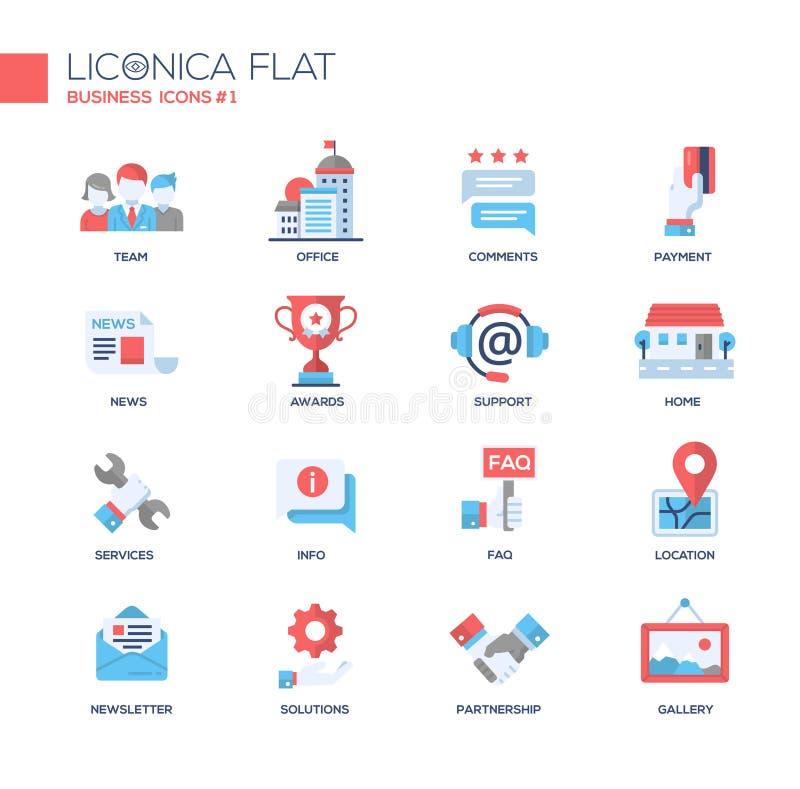 Sistema de iconos y de pictogramas planos del diseño de la oficina de negocios moderna stock de ilustración