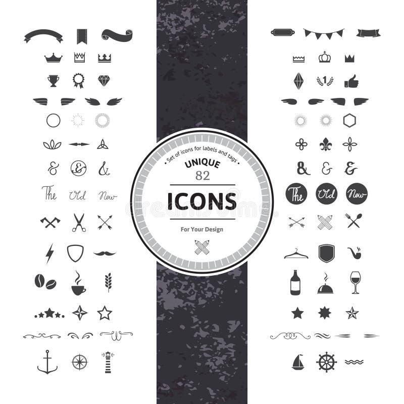 Sistema de iconos y de símbolos del inconformista stock de ilustración