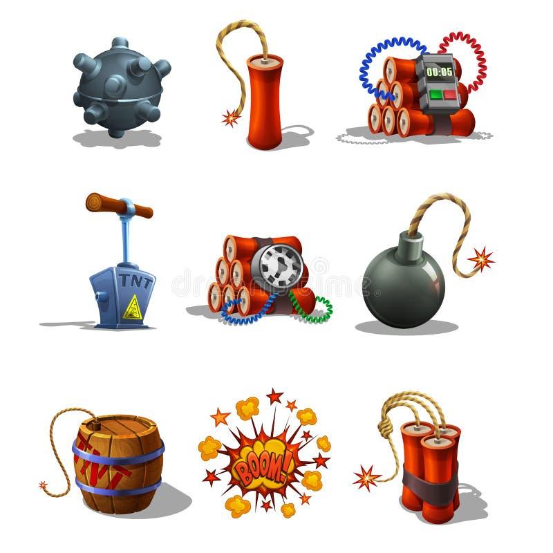 Sistema de iconos y del fusible de detonación explosivos en el fondo blanco libre illustration
