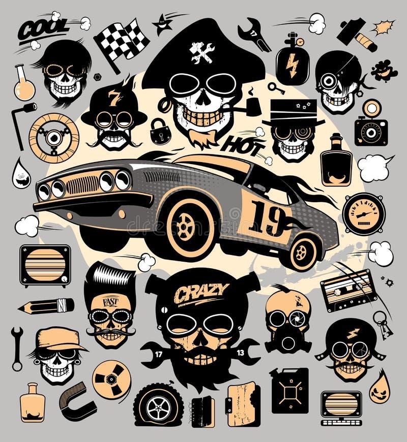 Sistema de iconos y de símbolos con el coche de carreras, las herramientas de la reparación, la música y los símbolos del garaje ilustración del vector
