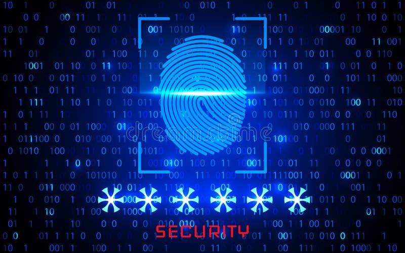 Sistema de identificação da exploração da impressão digital Conceito biométrico da segurança da autorização e do negócio Ilustraç ilustração do vetor